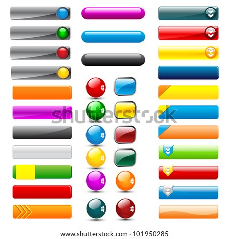 vector illustration of set of colorful web button in different shape - stock vector