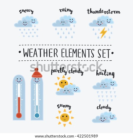 Vector illustration of set of cute cartoon funny smiley weather icons. Sunny, cloudy, rainy, snowy, shiny, hailing, thunderstorm, thermometer. Different kinds of weather. lettering name in English  - stock vector