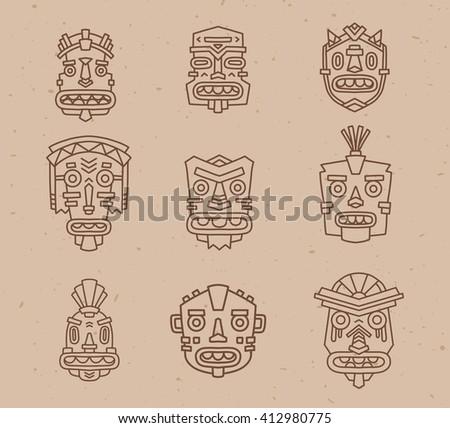 Vector illustration of set of ethnic tribal colorful masks on light sand texture background. Hand drawn line art design. Ethnic mask. Tribal mask. Vector collection of ancient mask line art. - stock vector