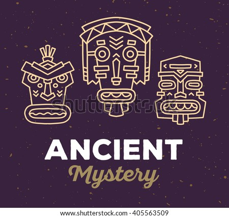 Vector illustration of set of ethnic tribal colorful masks with white text on dark brown sand texture background. Hand drawn line art design. Ethnic mask. Tribal mask. Vector mask.  Mask line art. - stock vector