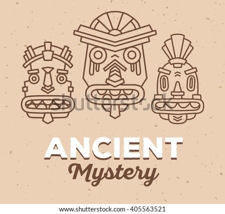 Vector illustration of set of ethnic tribal colorful masks with white text on light brown sand texture background. Hand drawn line art design. Ethnic mask. Tribal mask. Vector mask. Mask line art. - stock vector