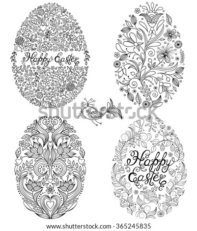vector illustration of set of floral easter eggs on white background - stock vector