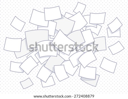 Vector illustration of set of flying business documents on dot background. Hand draw line art design for web, site, advertising, banner, poster, board and print.   - stock vector