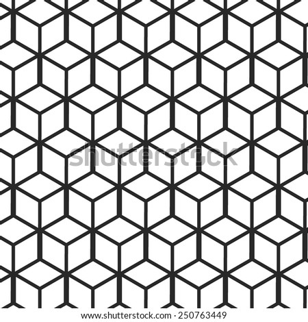 Vector Illustration of Set of Geometric Seamless Pattern for Design, Website, Background, Banner. Element for Wallpaper or Textile. Isometric Black and White Texture Template - stock vector