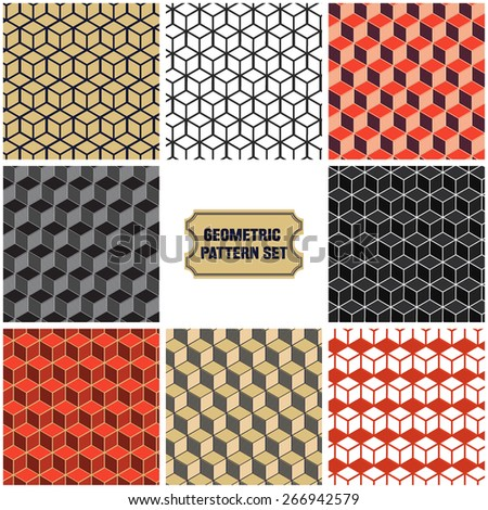 Vector Illustration of Set of Geometric Seamless Pattern for Design, Website, Background, Banner. Element for Wallpaper or Textile. Isometric ochre, black, White and Red Color Texture Template - stock vector
