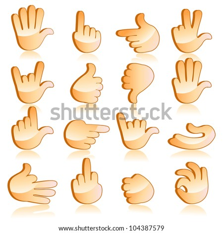 vector illustration of set of hand gesturing icon - stock vector