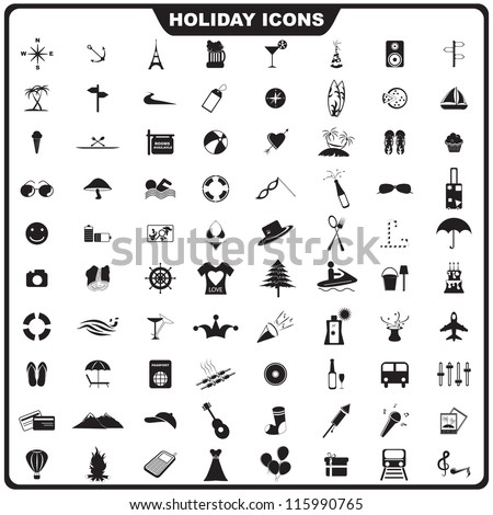 vector illustration of set of holiday icon against isolated background