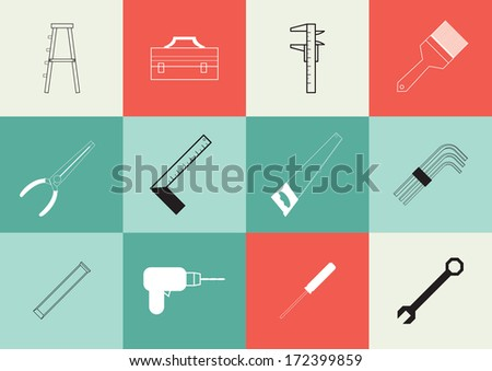 Vector illustration of Set of icon tools - stock vector