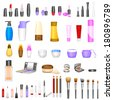 vector illustration of set of make up cosmetics - stock vector
