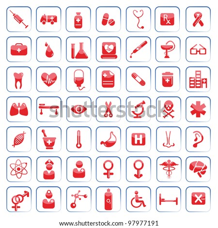 vector illustration of set of medical icon on white background - stock vector