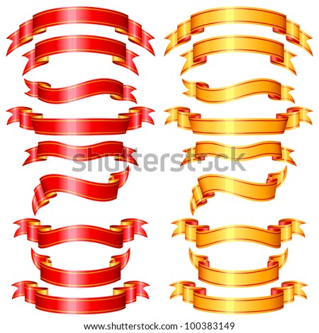 vector illustration of set of ribbon banner in red and golden color - stock vector