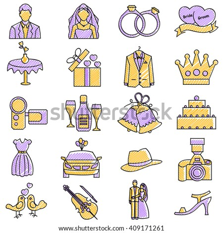 vector illustration of set of scribbled wedding icon against isolated background - stock vector