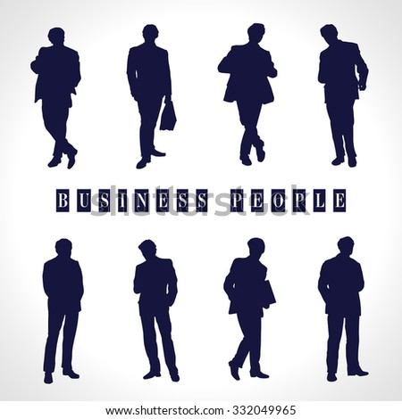 Vector illustration of set of silhouette of business people