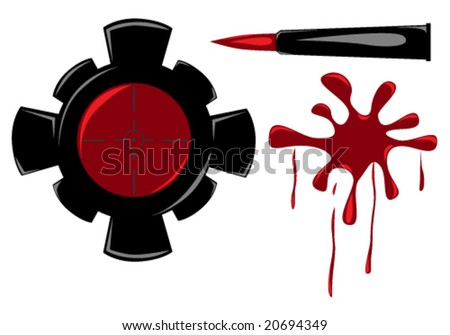 vector illustration of set of sniper items - stock vector