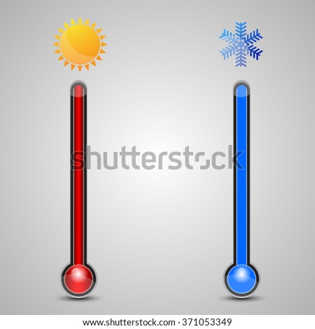 Vector illustration of Set of thermometers with red and blue indicator - stock vector