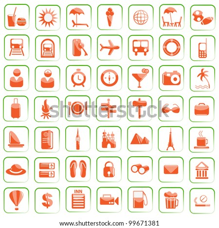 vector illustration of set of travel icon against white background - stock vector