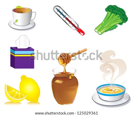 Vector Illustration of seven Sick Cold Flu Health Icons. - stock vector