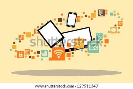 Vector illustration of several multimedia devices surrounded with app icons. - stock vector