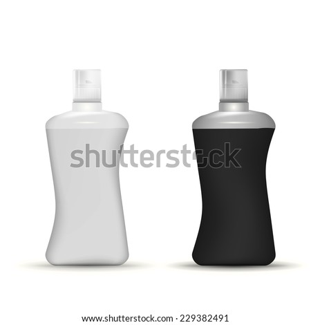 Vector illustration of shampoo bottles mock up. Gray and black plastic bottles for shampoo, foam or gel or some other cosmetics. Isolated vector mock-up illustrations on white background. - stock vector