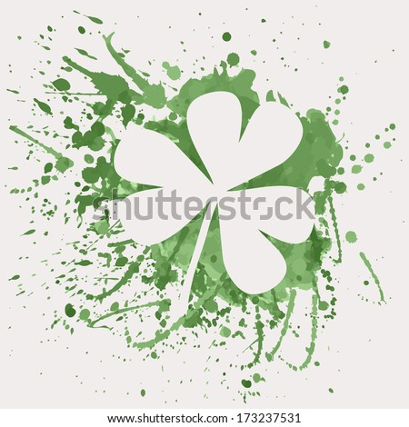Vector illustration of shamrock for St. Patrick's Day with green watercolor splash - stock vector