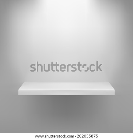 Vector illustration of shelf over grey background - stock vector