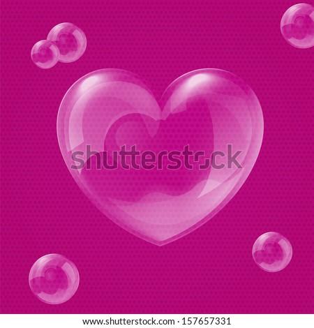 Vector illustration of shiny bubble heart - original Valentine's day card - stock vector