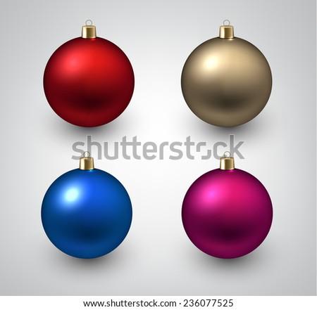 Vector illustration of shiny christmas balls. Winter decoration.    - stock vector