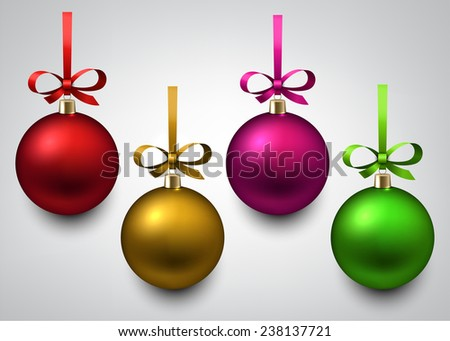 Vector illustration of shiny christmas balls with gift bows. Winter decoration.   - stock vector