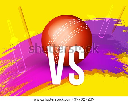 Vector illustration of shiny cricket ball  of different participating cricket countries with grungy yellow  background. - stock vector