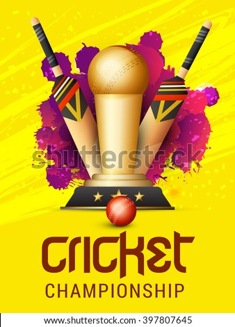 Vector illustration of shiny cricket trophy, ball and bat with yellow background. - stock vector