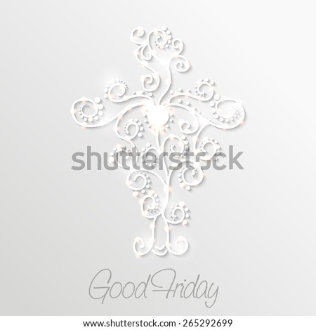 Vector illustration of shiny floral cross for Good Friday. - stock vector
