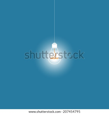 Vector illustration of shiny, glossy, glowing lamp bulb on blue background. Concept of thinking, creating new ideas. Bright light that illuminates.