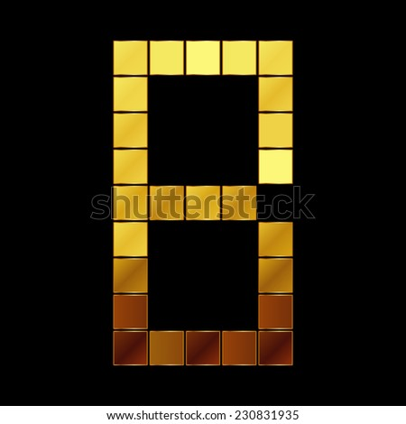 Vector illustration of shiny gold letter - B - stock vector