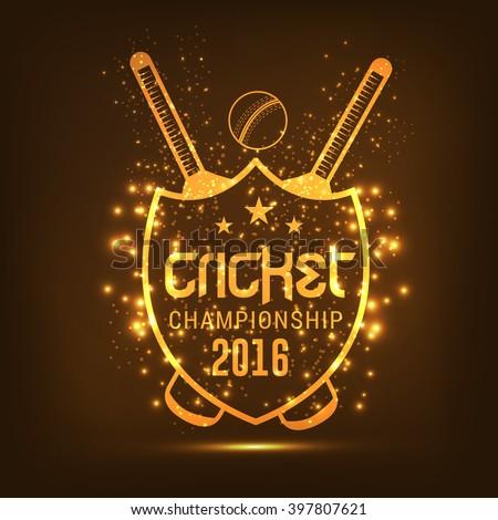 Vector illustration of shiny golden cricket shield. - stock vector