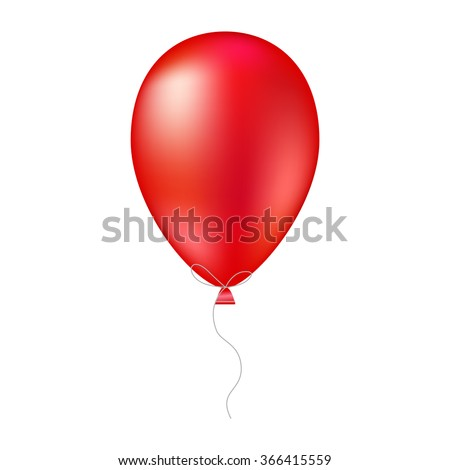 Vector illustration of shiny red glossy balloon. Realistic air  3 D ballon isolated on white background - stock vector