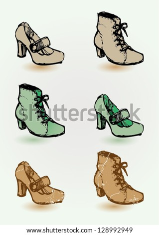 Vector illustration of shoes. Hand drawn heels and boots. - stock vector