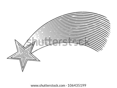 Vector illustration of shooting star in engraved style - stock vector