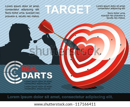 Vector Illustration of shooting target with valentine heart. - stock vector