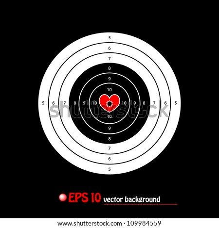 vector illustration of shooting target with valentine heart main point on black background - stock vector