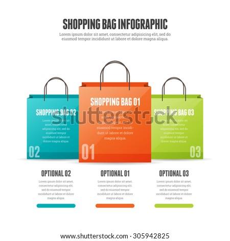 Vector illustration of shopping bag infographic design element. - stock vector