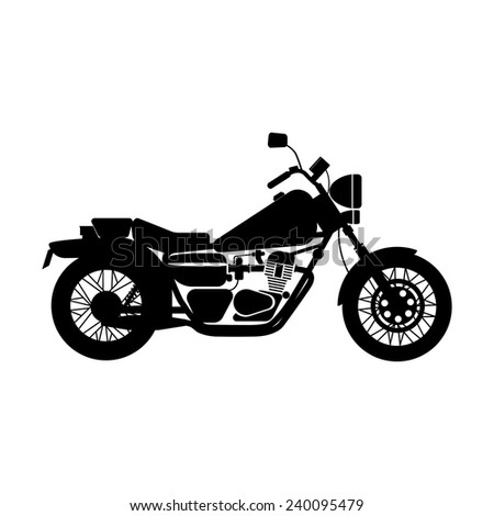 vector illustration of silhouette black motorcycle - stock vector