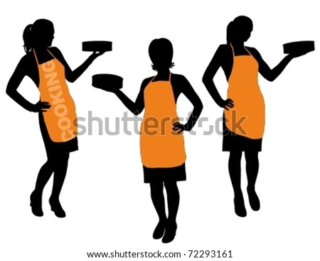 Vector illustration of silhouette housewife with apron in food preparation pose. - stock vector