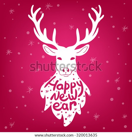 "vector illustration of silhouette of a deer with the inscription ""Happy new year"" on your chest, advertising for products and greeting, 2016 new year, holiday, Christmas"