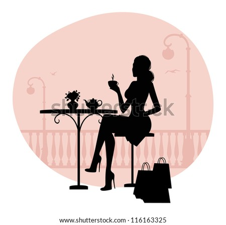 Vector illustration of Silhouette of beautiful woman in cafe - stock vector