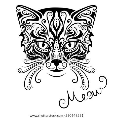 Vector illustration of silhouette of cat's head on a white background. - stock vector