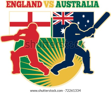 vector illustration of  silhouette of cricket batsman batting front view with flag of England and Australia in background