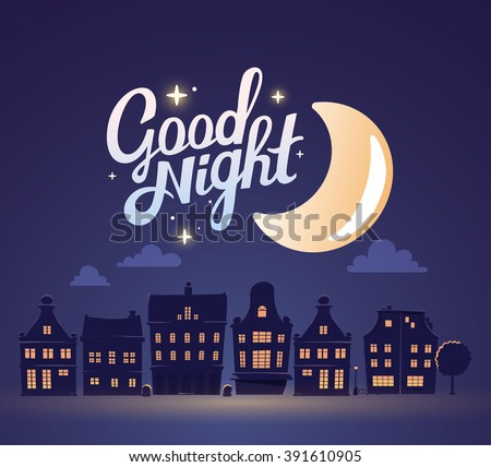 Vector illustration of silhouette of night city landscape on dark blue sky background with big moon. Art design for web, site, advertising, banner, poster, flyer, brochure, board, card, paper print. - stock vector