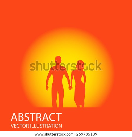 vector illustration of silhouette of romantic couple in love  on background of sunset  - stock vector