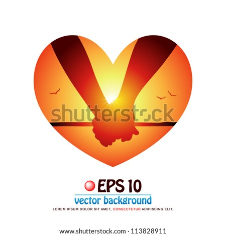 vector illustration of silhouette of romantic couple's hands holding each other at the beach on background of sunset in valentine heart shape - stock vector