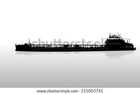 Vector illustration of silhouette of the sea cargo ship - stock vector